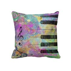 Cool watercolours splatters colourful piano throw pillow