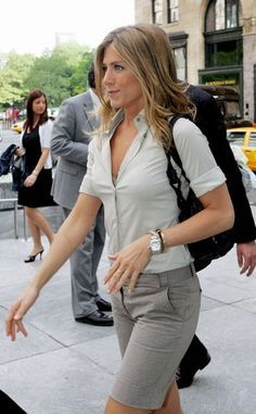 Jennifer Aniston... I love her style. She knows how to wear clothes, even simple shorts and a shirt.