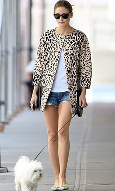 Olivia Palermo shoes  style,  #cute -  #outfit -  #puppy,  olivia palermo  #shorts -  #leash  #red nails -  #leopard print  summer