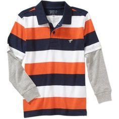 Wrangler Boys Stripe Hangdown Sleeve, Size: 14/16, Orange