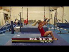 Bars back hip circle - YouTube Gymnastics Levels, Gymnastics Lessons, Gymnastics Academy, Preschool Gymnastics, Tumbling Gymnastics, Gymnastics Coaching, Gymnastics Training, Gymnastics Videos, Gymnastics Workout