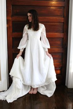 Beautiful 1970S VINTAGE WEDDING Dress Lace and by JEliseVintage