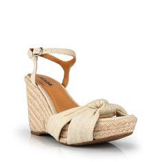 Soda Natural Ankle Strap Espadrilles Platform Wedge Sandal