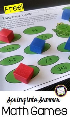 First grade teachers, you'll love these two free easy prep math games for spring! Each game is just one page, with no cards to print and prepare! Plus, both games come in both color and black and white, making them great for your math centers AND an easy Kindergarten Math Games, Math Literacy, Math Activities, Maths Eyfs, Preschool, Subtraction Games, Addition And Subtraction, First Grade Teachers, 1st Grade Math