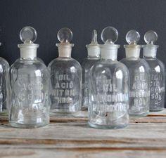 LOVE THESE! Antique Glass Chemistry Bottle.  Embossed Ammonium Hydroxide. $27.00, via Etsy.