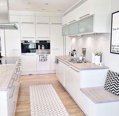 The Debate Over Kitchen Island Booth Decor Ideas - myhomeorganic Kitchen Room Design, Modern Kitchen Design, Home Decor Kitchen, Kitchen Interior, Modern Design, Design Design, Elegant Kitchens, Luxury Kitchens, Home Kitchens