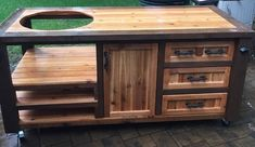 Custom Grill Table or Cabinet for Kamado Joe, Big Green Egg, Primo grills - Customize your Outdoor Grill Island & Beverage Bar Outdoor Grill Island, Outdoor Grill Station, Outdoor Cooking, Big Green Egg Table, Green Eggs, Grill Cart, Bbq Grill, Grilling, Patio Grill
