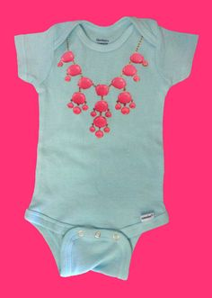 Hipster Kids Turquoise baby onesie with Hot Pink bubble necklace