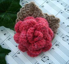 Hand Crochet Corsage Brooch Pin Red Wool Rose. $15.00, via Etsy.