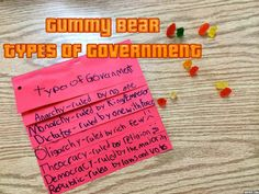 Reinforce the different types of governments with fun, hands-on gummy bear depictions!