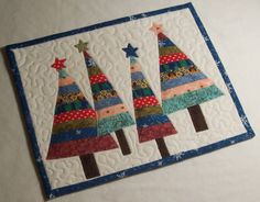 Winter Trees Applique Quilted Mug Rug Christmas Tree Quilt Block, Christmas Applique, Christmas Sewing, Small Quilts, Mini Quilts, Small Quilted Gifts, Fabric Postcards, Winter Quilts, Handmade Christmas Decorations
