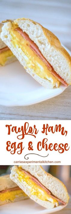 Taylor Ham, Egg and Cheese on a Hard Roll is the quintessential New Jersey breakfast sandwich. When ordering, don't forget to let them know if you want them to add salt, pepper and ketchup! #breakfast #sandwich #taylorham #newjersey