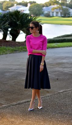 Skirt: ASOS (last seen here , similar version  here  and here ) // Sweater: J.Crew  // Shoes: J.Crew  // Earrings: J.Crew (simil...