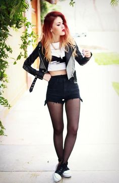 Monochrome love // Black high waist denim shorts, white crop tee and leather jacket