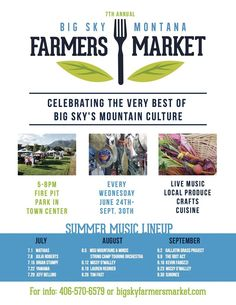 One of Big Sky's premiere summer events. The Farmers Market is held every Wed. from June 30 at Fire Pit Park in Town Center. Enjoy live music, crafts, cuisine and the very best of Big Sky's mountain culture. Big Sky Montana, Sky Mountain, Music Crafts, June 24, Summer Events, Live Music, Farmers Market, Fire, Culture