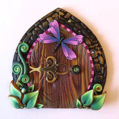Dragonfly Fairy Door Pixie Portal Fairy Garden Decor by Claybykim Polymer Clay Fish, Tooth Fairy Doors, Fairy Dust, Leprechaun, Portal, House Warming, Pixie, Unique Gifts, Garden