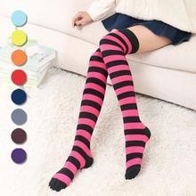ab44b03000b Ladies Over Knee Socks Plain Striped High Thigh Long Womens Stripe Socks  Girls Striped Thigh High
