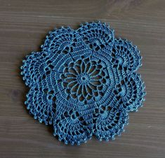 Crochet Doily in blue jeans, steel blue: table decor, home decor by NadoandLola on Etsy Lace Doilies, Crochet Doilies, Ikea Stool, Primary Colors, Blue Jeans, Crochet Earrings, Pink, Etsy, Table Decorations