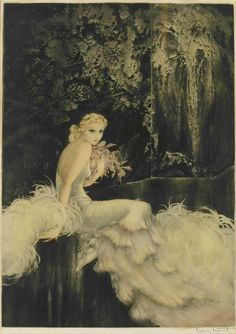 "Louis Icart (French 1888-1950) ""Orchids"""