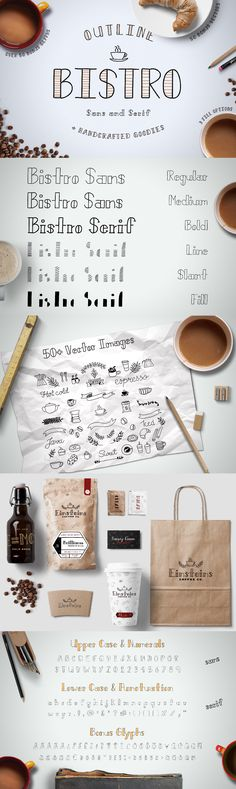 Bistro - Bistro Sans & Serif is a hand crafted font that's inspired by the chill vibes of your local cafe. It's full of those hand-written imperfections that make your designs come to life! The three weights can be enhanced with a bi-color interior,