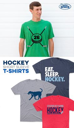 Our wide selection of short sleeve hockey T-Shirts range from whimsical and fun to motivational to seasonal/holiday designs for the perfect hockey T-Shirt. Short Sleeve Tee, Short Sleeves, Hockey Shirts, Hockey Players, Cool Designs, Shirt Designs, Youth, Fans, Training