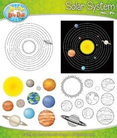 Solar System and Planets Clipart Set $ - print the set and have kids build the solar system.