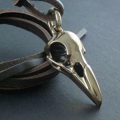 Necklace Skull Raven - Bronze & Leather - LostApostle