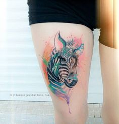 Watercolor Zebra Tattoo by Jess Hannigan