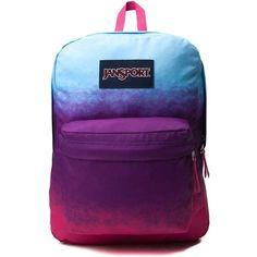 JanSport Superbreak Backpack ($36) ❤ liked on Polyvore featuring bags, backpacks, padded backpack, handle bag, pocket bag, jansport daypack and purple backpack