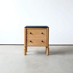 MaeNightstandSmallWHOKBLK2 Solid Brass, Solid Wood, Soft Close Drawer Slides, Wood Drawers, D 20, Wood Glass, White Oak, End Tables, Furniture Decor