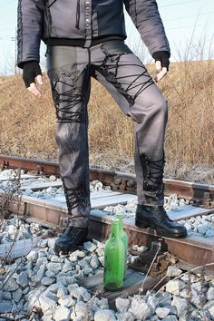 Rock - Metal - Goth Men's Pants with lacing - L
