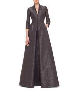 Coat-Style Gown, Granite by Akris at Neiman Marcus. Simple Dresses, Casual Dresses, Fashion Dresses, Formal Dresses, Formal Gowns With Sleeves, Diwali Dresses, Neiman Marcus Dresses, Mode Hijab, Frocks