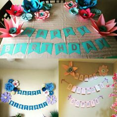 Hand Crafted Paper Flower Party Banners.  UpliftingSurprise@gmail.com  https://m.facebook.com/profile.php?id=1642158762737688