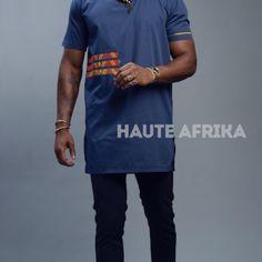 Tunique pour homme en tissu avec des motifs de pagne wax donnant une originalité à la tenue Motifs, Mens Tops, T Shirt, Fashion, Men Wear, Fabric, Outfit, Africa, Tee
