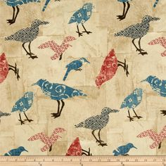 Summerland Tossed Birds Tan from @fabricdotcom  Designed by Skipping Stones Studio for Clothworks, this fabric is perfect for quilting, apparel and home decor accents. Colors include red, navy, teal, brown and tan.