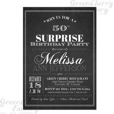 Typography Adult Surprise Birthday Invites - Chalkboard Black and White - Printable Surprise Adult Birthday Invitation - No.14