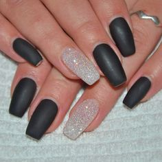 Black Matte and clear Glitter