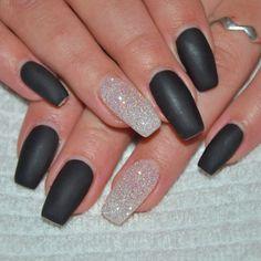 Black Matte and clear Glitter