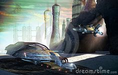 Virtual presentation of a futuristic city on an alien planet. on the ocean coast. A spaceship is coming out from an entrance on the rocks.