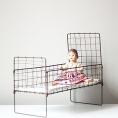 Antique Doll and Woven Wire Bed Set by AMradio on Etsy