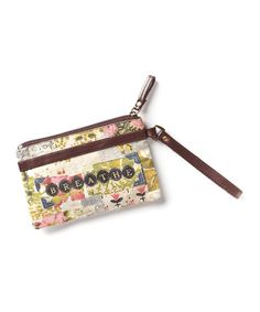 Take a look at the Brown & Pink 'Breathe' Wristlet on #zulily today!