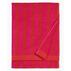 Kaksi Raitaa bath towel 75x150cm - red - All items - Home  - Marimekko.com Red Towels, Bath Towels, Red Sign, Marimekko, Bed & Bath, Pink Stripes, Red And Pink, Pattern, Cotton