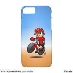 MTB - Mountain biker iPhone 7 case. #iPhone7 #Zazzle #Cardvibes #Tekenaartje