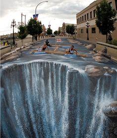 Street art - Julian Beever. Wow, now that's creative.