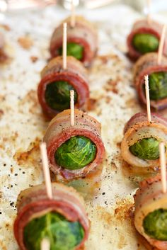 Bacon Wrapped Brussels Sprouts - 18 Welcoming Thanksgiving Appetizers that Will Accomplish Your Dinner Table