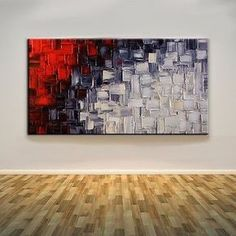 Hand-painted Monroe Abstract Art Black White And Red Oil painting (with framed) More