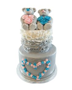Love Bears on Tissue Ruffle three tier cake with grey pink and blue
