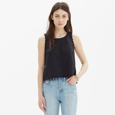 Madewell Eyelet Crop Top Beautiful like new black crop tank with scalloping. It has a butterfly back and is perfect for a hot day. ❌ No trades ✔️ feel free to ask questions. ✔️ use the offer button!!!! Madewell Tops Crop Tops