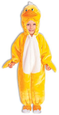 "Quackers the Duck Toddler Costume (made of polyester fabric, each pack includes a jumpsuit with attached headpiece; measures up to 39"" high and up to 24"" around the waist)"