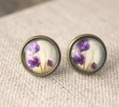 Spring Flower Earrings small STUDS or Clip Earrings Purple Crocus earrings Small Cute Clip earring radiant orchid pretty floral studs E613 on Etsy, $14.00